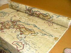 World map fabric craft supply yardage map fabric by chezlele 1750 prestigious atlas world map antique designer cotton curtain upholstery fabric gumiabroncs Choice Image