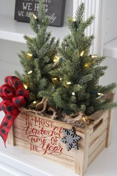Farmhouse Christmas Decor~Christmas Table Top Tree Centerpiece~Lit Faux Trees~Two Trees in a Wood Box – Farmhouse Decor Above Couch Christmas Porch, Farmhouse Christmas Decor, Country Christmas, Winter Christmas, Vintage Christmas, Christmas Holidays, Christmas Wreaths, Merry Christmas, Red Farmhouse