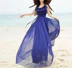 Chiffon dress maxi dress beach dress boho dress by Lemontree2013, $99.90