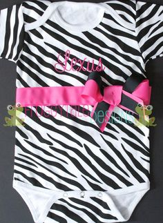 Zebra Print Name Bodysuit Onesie in Hot Pink and Black Outfit for Little Baby Girls - PERSONALIZED Custom. $27.00, via Etsy.