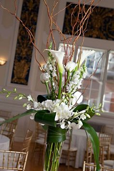 Discover thousands of images about jeff french floral & event design: February 2012 Orchid Centerpieces, Wedding Centerpieces, Wedding Decorations, Centrepieces, Curly Willow Centerpieces, Church Decorations, Tall Centerpiece, Centerpiece Ideas, Table Flowers