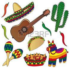Set van verschillende Mexicaanse beelden - vector illustratie. photo