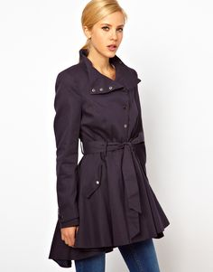 Popper Front Fit And Flare Trench