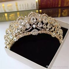 Amazing Gold Wedding Bridal Crown Queen Crystals Royal Crystal Wedding Crowns Stone Headband Hair Sliver Masquerade Birthday Party Tiaras Bracelets Cathedral Veil Wedding Veil Online with $21.12/Piece on Sukywedding's Store | DHgate.com #weddingcrowns