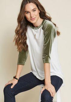 99fb9a30aa2 Velvet Twist Raglan Top in Olive in L - Regular Waist Shirt Style