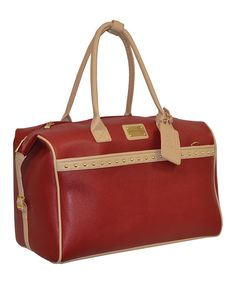 Take a look at this Red Studded Pebble-Grain Duffel Bag on zulily today!