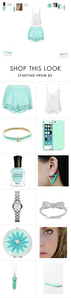 """""""Mint Green Shorts"""" by hungergameslover7 ❤ liked on Polyvore featuring New Look, LE3NO, Alexis Bittar, Insten, Deborah Lippmann, Marc by Marc Jacobs, Liz Claiborne and Me to We"""