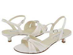 Coloriffics Andie Ivory Satin - Zappos.com Free Shipping BOTH Ways - like the small heel & the fabric looking crossovers.