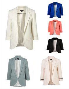 2014 New Arrival Brand Famale Candy Color Plus Size Business Coat Casual Fashion Slim Blazer Three Quarter Chiffon Jacket #535 $28.11