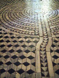 Labyrinth on the marble tiled floor of Basilica San Vitale - Ravenna, Italy