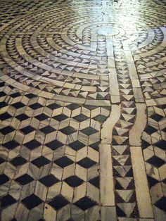 Labyrinth on the marble tiled floor of Basilica San Vitale - Ravenna, Italy