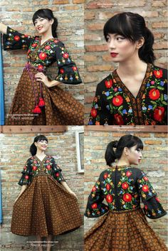 NEW Batik Amarillis's Amarantha dress -which features Hungarian embroidery & Batik Indonesia in Randu Kintir pattern... Taking inspiration from 70-ies with mediveal romanticism,Batik Amarillis maintains its distinct modern-bohemia signature - modest  yet unabashedly romantic .wear it with or without belt this V neck dress has slimming silhouette with its tiered bell sleeves  plus full skirt for ethereal  head-turning approach to occasion dressing
