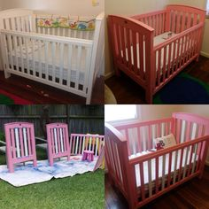 From White to Pink to stripes using Annie Sloan Chalk Paint
