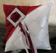 Wedding Ring Bearer Pillow, Ivory & Apple Red or Custom Made to your colors with Swarovski Crystals Wedding Ring Cushion, Wedding Pillows, Cushion Ring, Ring Bearer Pillows, Ring Pillows, Red And White Weddings, Pillow Crafts, Flower Girl Basket, Red Apple