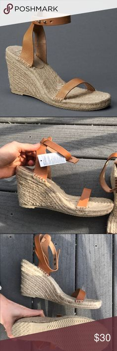 GAP espadrille wedges with leather strap •espadrille wedges •tan leather straps •never worn  be sure to check out my other name brand products! GAP Shoes Wedges