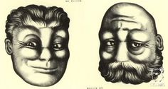 Rex Whistler shows a young and an old man on the same face in this optical illusion portrait - more on mayhemandmuse.com