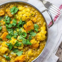 Lentil, Cauliflower and Sweet Potato Curry #MeatlessMonday  Making this tonight!!!