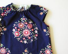 Baby smock dress flowers on navy blue pink red light blue by oktak