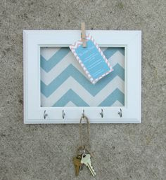 This has given me a great Idea. Put a family picture or any picture you love and add hooks for the keys on to the frame. So easy to do!