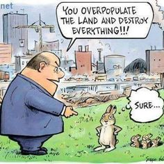 Man and city rabbit and environmental destruction, keywords: rabbit city overpopulation environment destruction invasive species Oryctolagus cuniculus cartoon Save Our Earth, Save The Planet, Satire, Human Overpopulation, Vegan Humor, Vegan Memes, Vegetarian Humor, Childfree, Political Cartoons