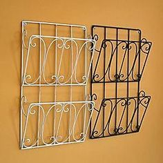 Shabby Chic Wall Mounted Magazine Storage Rack Cream