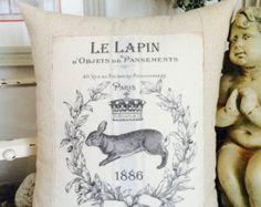 Jahrgangs Hase Kaninchen Le Lapin französischen Shabby Chic Kissenbezug mit Kissen Form, Bunny Kissen, Cottage