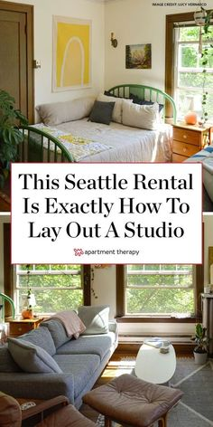 This Seattle rental shows exactly how to successfully lay out a studio apartment. | House Tours by Apartment Therapy #housetours #hometours #studio #studioapartment #apartmentdecorating #layout #studiolayout