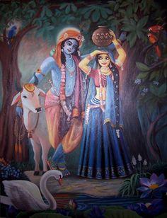 Radha-Krishna with Cow, Swan and Parrots - by Rudradeva d. Señor Krishna, Krishna Avatar, Baby Krishna, Cute Krishna, Lord Krishna Images, Radha Krishna Pictures, Radha Krishna Photo, Radha Krishna Paintings, Krishna Drawing