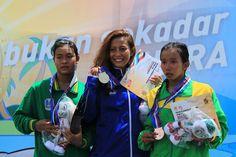 Pada nomor 3.000 meter putri pada Renang Perairan Terbuka #PON2016, Raina Saumi (Jabar) berhasil meraih emas diikuti Inka Nur F (Jatim) meraih perak dan Resi Dwi (Sumut) meraih perunggu.
