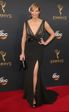 Allison Janney  2016 Emmys... Elegant but modern. Change the colors & embellishments to fit the wedding theme. Try different combinations of fabric & embellishments for that right bridal look.