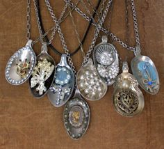 DIY Tutorial - Gorgeous Spoon Pendants With Vintage Costume Jewelry Embellishments - Easy Project!
