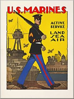 Vintage Marine Poster - active service, Land, Sea, Air