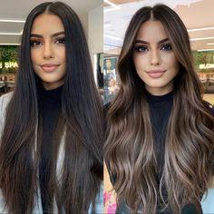 Brown Hair Balayage, Hair Highlights, Ombre Hair, Hair Color Balayage, Light Hair, Dark Hair, Honey Brown Hair, Pretty Hair Color, Hair Upstyles