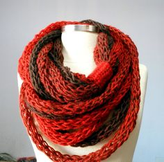 NEW Infinity loop scarf - Beautiful colors   Infinity scarf - neckwarmer autumn women accessories, fall - winter fashion. Its warm and decorative. You will feel both warm and beautiful. Very soft yarn and wonderful color combination.   100% Handmade   I knit this infinity scarf necklace with 40% wool 60% acrylic yarn. * Please refer to my shop policies.  http://www.etsy.com/shop/yarnisland/policy  *This item is ready to ship and will be shipped out within 2-3 days of ...