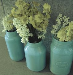 1) Start by collecting old jars.      2) Wash the jars with soap and water (for the sticky residue, use a bit of nail polish remover).      3) Purchase a paint sample.  It costs less than $5.      4) Pour a small amount of paint in each jar, then slowly rotate the jar until the paint fills the entire inside.      5) Let it dry for a day.      6) The next day, clean up excess paint along the rim and on the outside of the jar with nail polish remover.