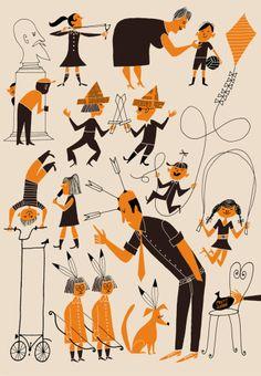 Being a Teacher is not for the weak. Vintage Cartoon, Cartoon Art, Character Illustration, Illustration Art, Retro Illustrations, People Illustration, Retro Design, Design Art, Mid Century Art