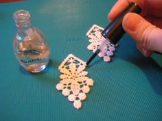 Learn How To Make Lace Earrings ..coat lace with nail polish or Mod Podge