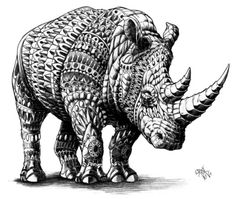 Detailed black white drawing Rhinoceros Art Print  February 2015