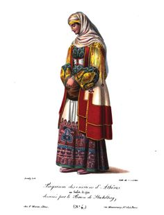 Albanian (Arvanite) woman from the surroudings of Athens in ceremonial attire. Albanian Language, Folk Costume, Costumes, Albanian People, Late Middle Ages, Greek Apparel, Historical Art, Greek Clothing, Traditional Outfits
