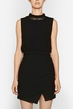 Camilla and Marc | SUPPLIMENTARY DRESS  US$447.71 Party dress designed in a black waffle fabric with a mesh panel at the neckline. Features a wadded neckline and waistband, blouson-style bodice and wrap-style skirt. Includes a hook and eye fastening at the neck and invisible zipper at the centre back.