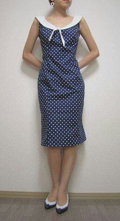New dress vintage casual chic polka dots Ideas Trendy Dresses, Simple Dresses, Blue Dresses, Vintage Dresses, Vintage Outfits, Fashion Dresses, Vintage Fashion, Summer Dresses, Vintage Style