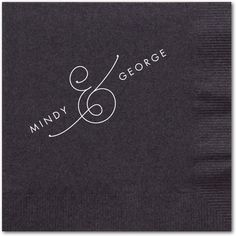 Gorgeous Couple - Personalized Wedding Napkins - simplyput by Ashley Woodman - Black Napkin - Black : Front