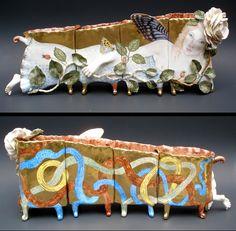 """SILFIDA"" Four Cups  Irina Zaytceva  Handbuilt porcelain, overglaze painting, 24k gold luster"