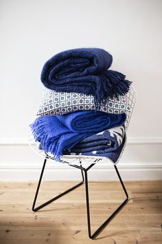 Blueberryblue Mohair and wool throws. Made by Lapuan Kankurit