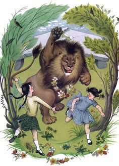 Pauline Baynes - Aslan, Lucy and Susan in Narnia - Artwork for C. S. Lewis