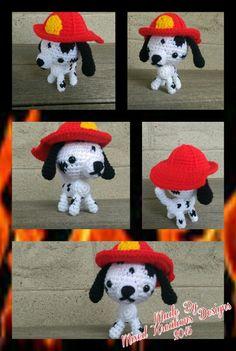 Crochet Dalmatian dog with fireman hat
