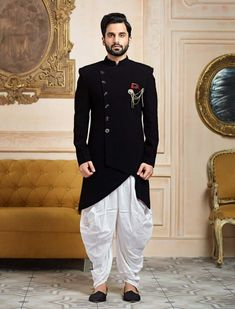 Shop Black color terry rayon indowestern online from India. Mens Indian Wear, Mens Ethnic Wear, Indian Groom Wear, Indian Men Fashion, Mens Fashion Suits, Mens Suits, Indian Ethnic Wear, Wedding Dresses Men Indian, Wedding Dress Men