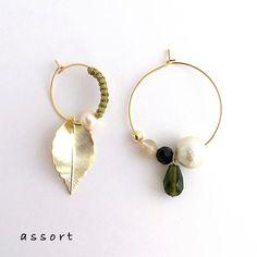 - うぐいす色 × リーフ - pierce & earring