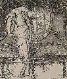 The Lady of Shalott, William Holman Hunt, Edward Moxon. Wood engraved illustration in bound volume.