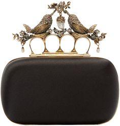 2400 Alexander McQueen Black Silk Birds Knucklebox Clutch